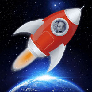 Charlie flyger i rymden